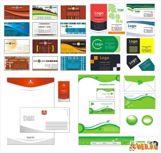 Корпоративные стили и визитки от ShutterStock в EPS формате+ превью.