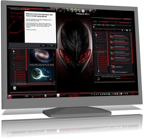Red Alienware Skin Pack 2.0 for Windows 7