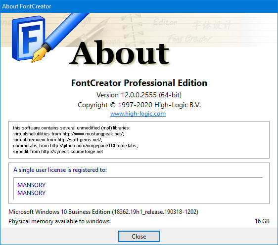 High-Logic FontCreator 12.0.0.2555